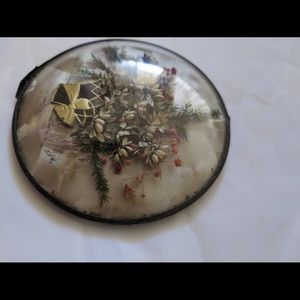 Vintage Wall Art - Vintage dried flowers in a convex frame